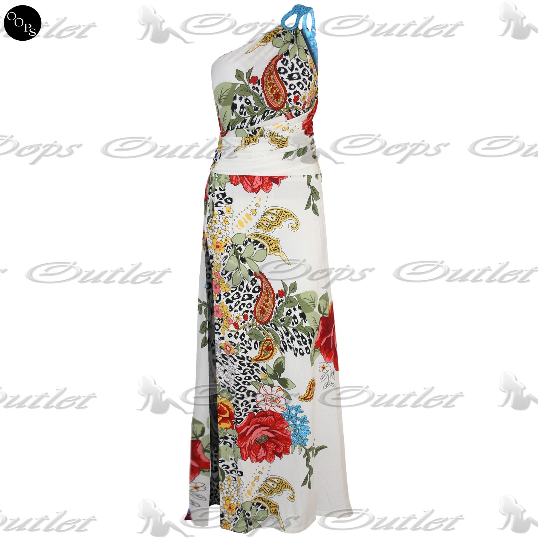 Womens-Back-Cut-Out-Floral-Ladies-One-Shoulder-Ruched-Side-Split-Long-Maxi-Dress