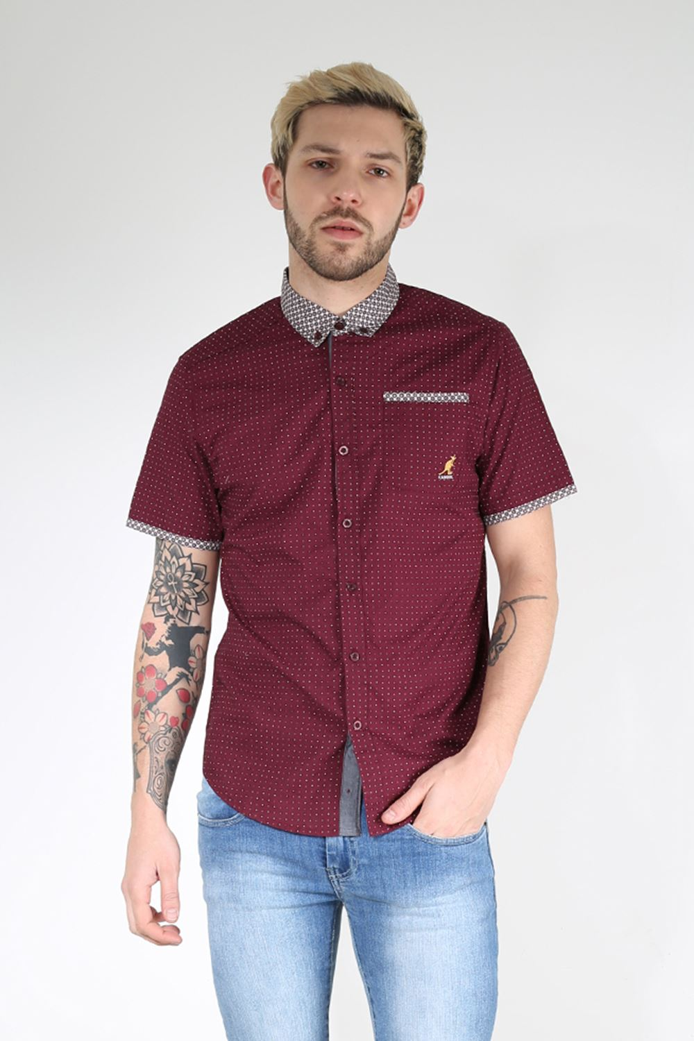 Kangol mens branded collared dotted short sleeve button for Best short sleeve button down shirts reddit