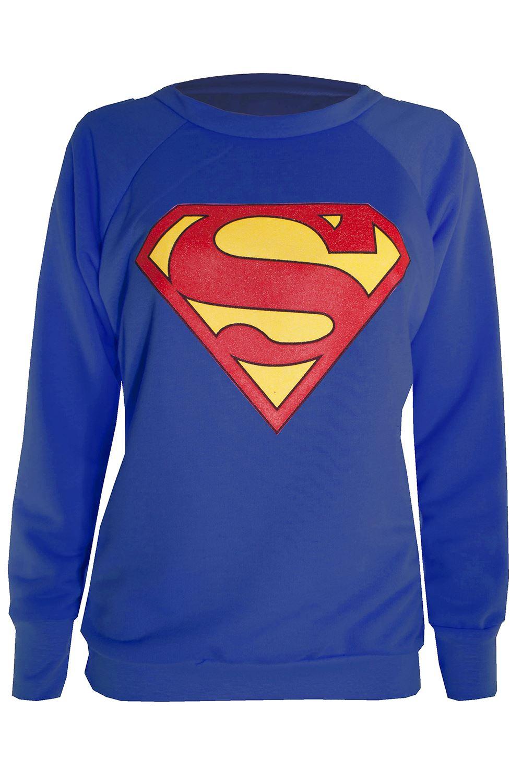 ladies full sleeve superman tee shirt womens batman sweatshirt hoody tops ebay. Black Bedroom Furniture Sets. Home Design Ideas