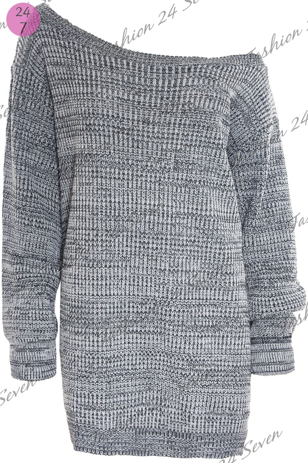 Womens Ladies One Off Shoulder Chunky Knit Oversized Tunic Sweater Jumper Dress