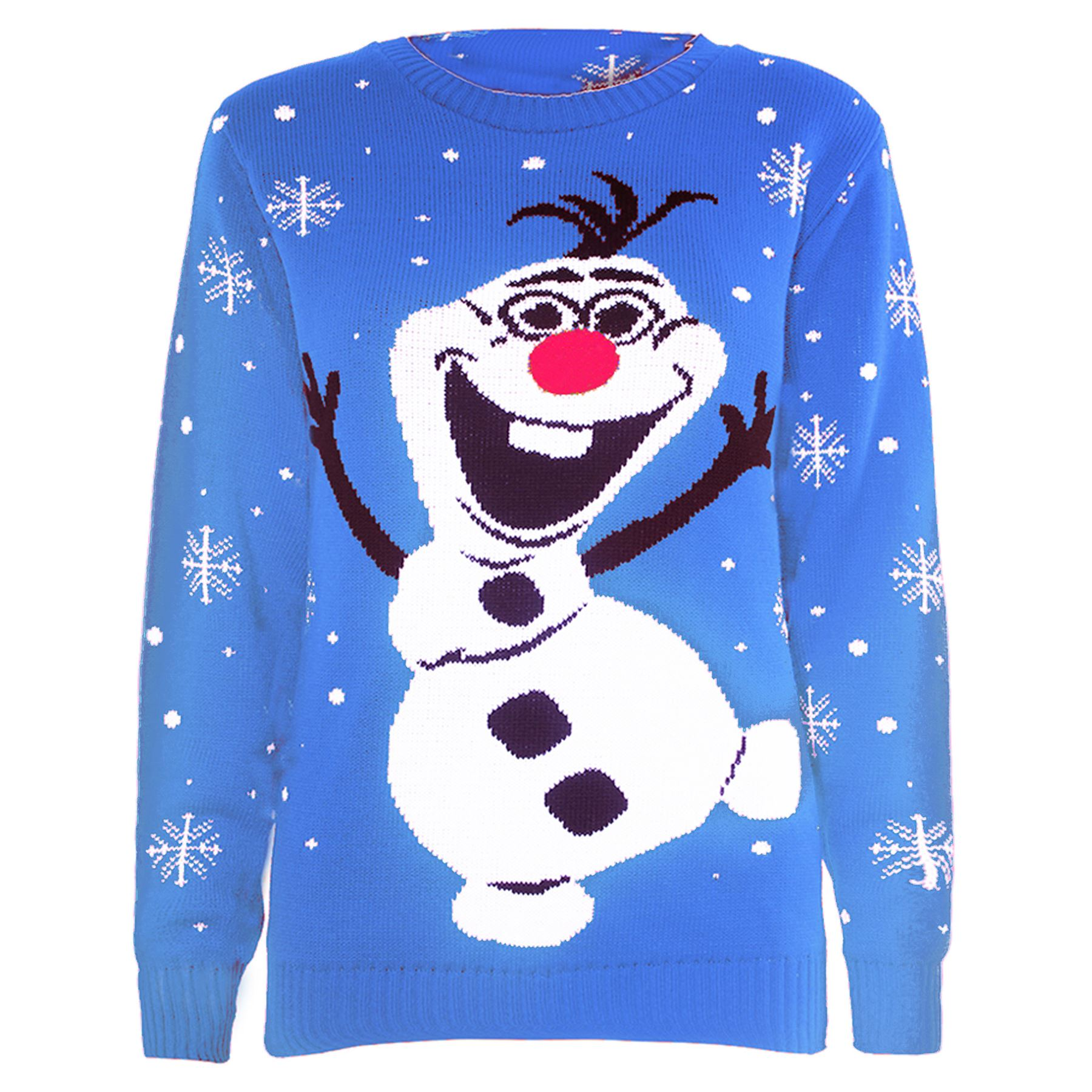 Womens Ladies Novelty Rudolf Olaf Frozen Knit Christmas Sweater ...