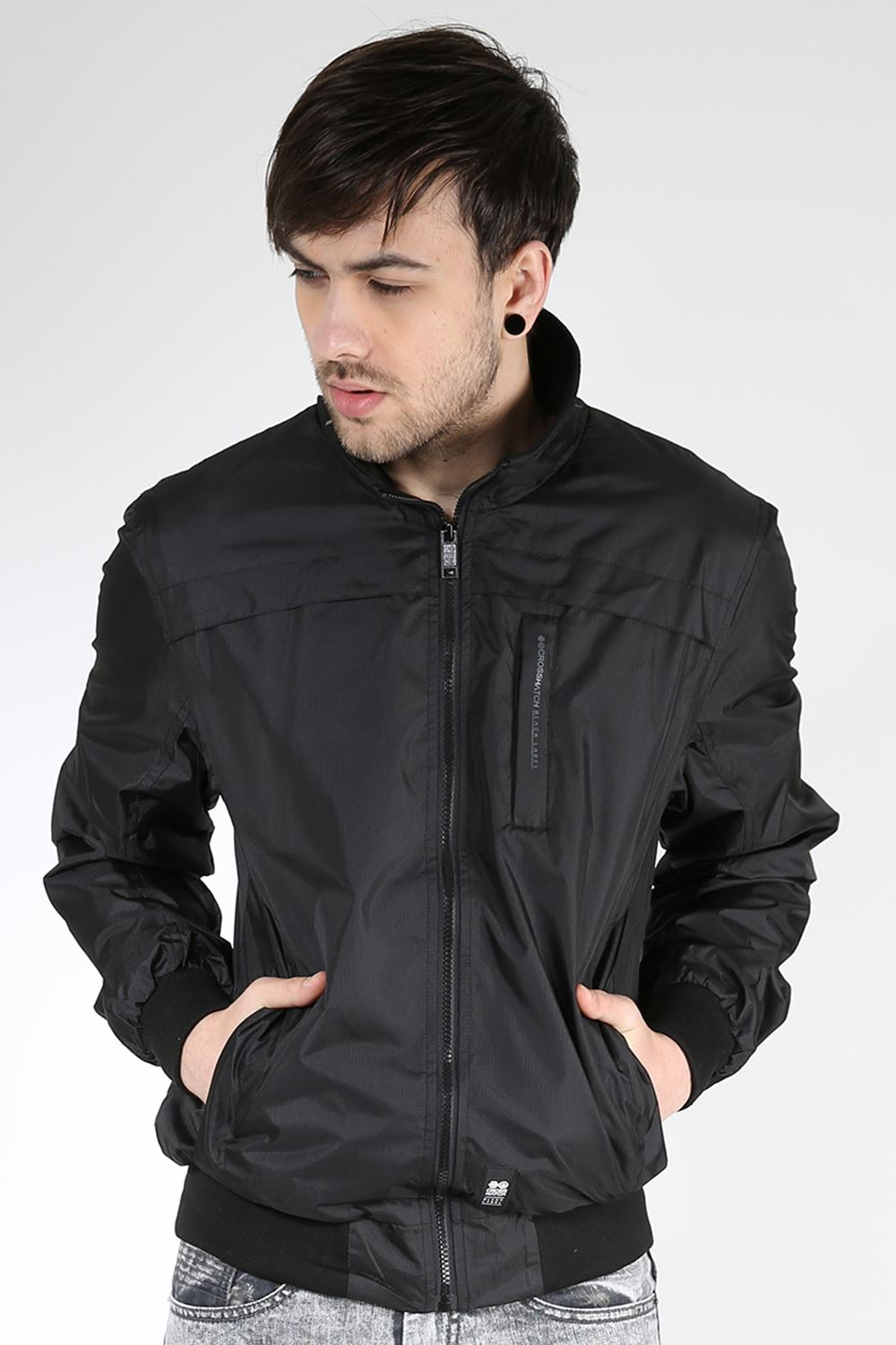 Mens Long Sleeve BRIMON Zipper Zip Up Cross Hatch Black Label Branded Top Jacket | EBay