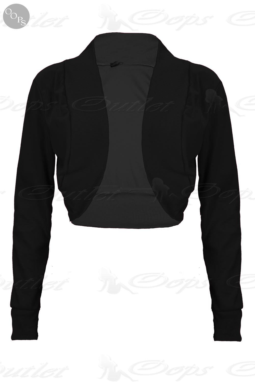 Womens Ladies Stretchy Ribbed Long Sleeves Cotton Bolero Cardigan Shrug Crop Top