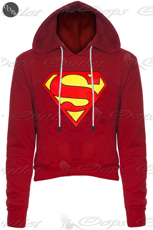 Womens-Ladies-Superman-Batman-Cap-Long-Sleeves-T-Shirt-Sweatshirt-Hoodies-Tops