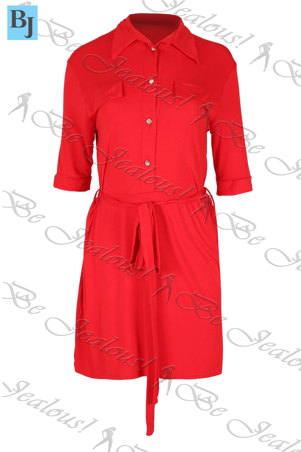 ladies shirt dress womens belted gold button 3 4 sleeve