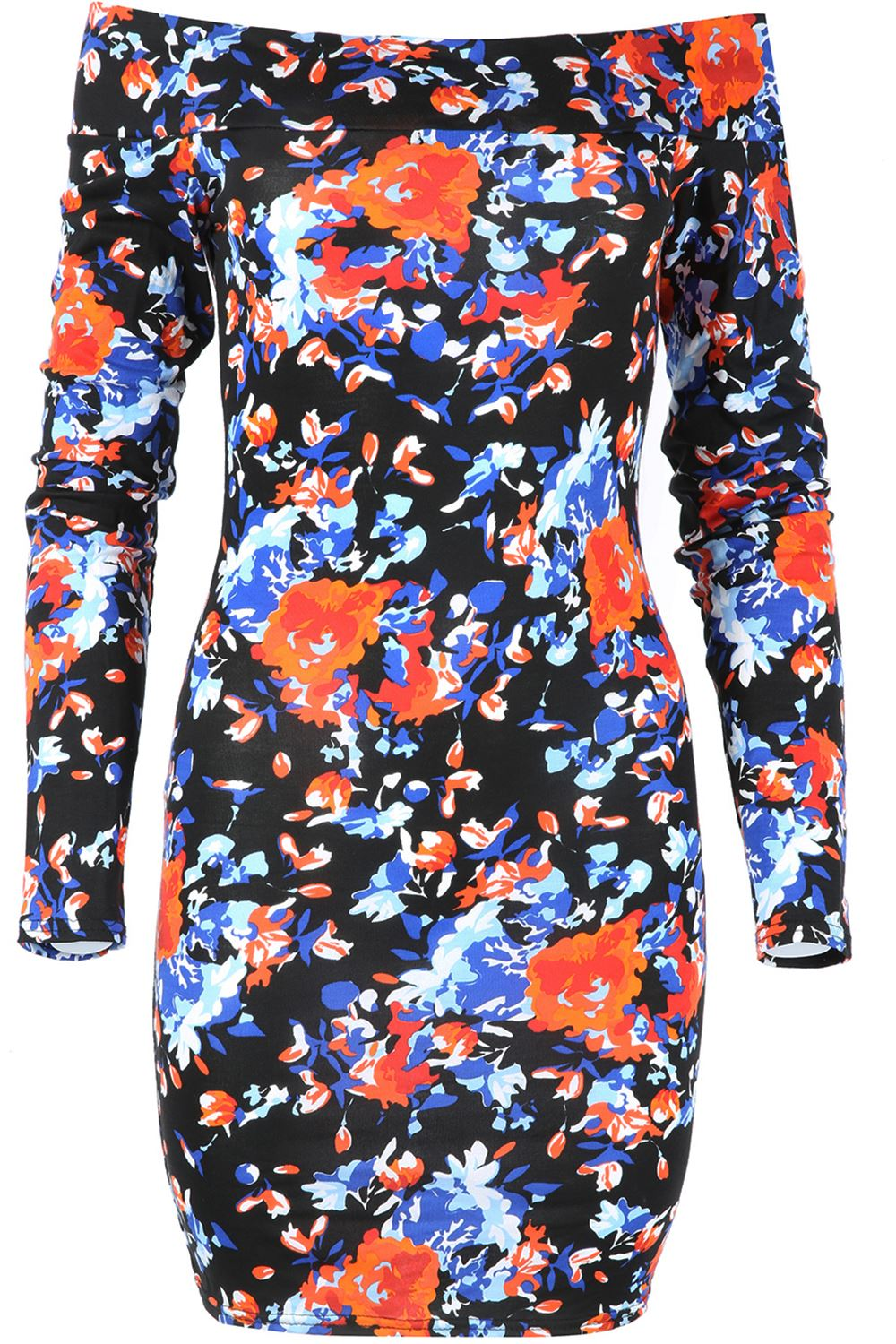 Womens Floral Long Sleeve bodycon Ladies Bardot Off the Shoulder Mini Dress