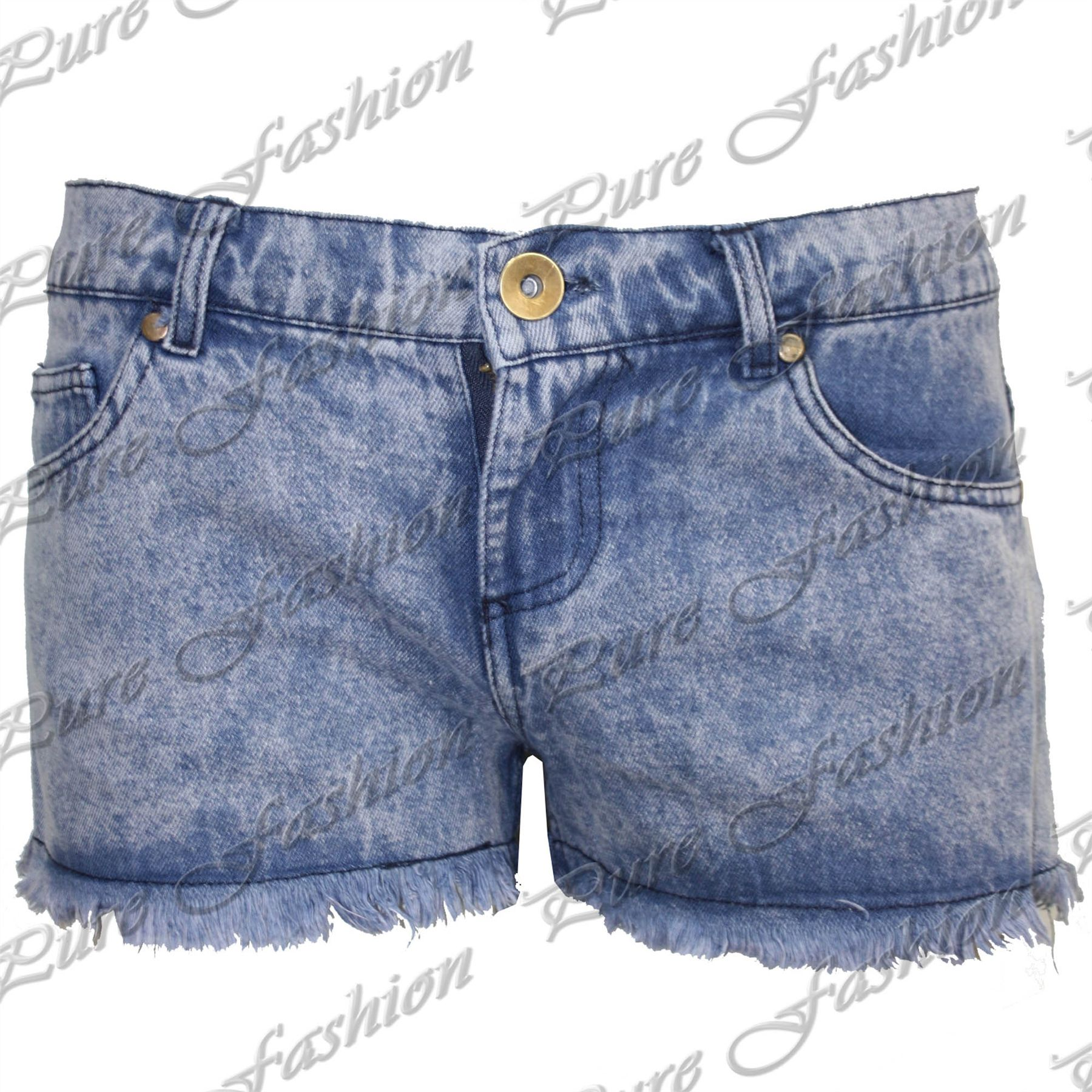 Womens-Ladies-Raw-Edge-Torn-Ripped-Frayed-Distressed-Denim-Shorts-Hot-Pants-Size