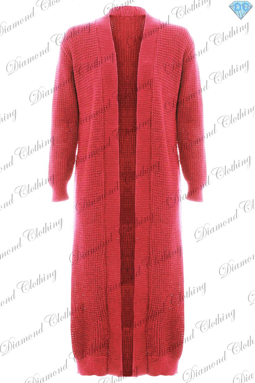 Womens Long Sleeve Ladies Plain Open Chunky Knit Cosy Maxi ...