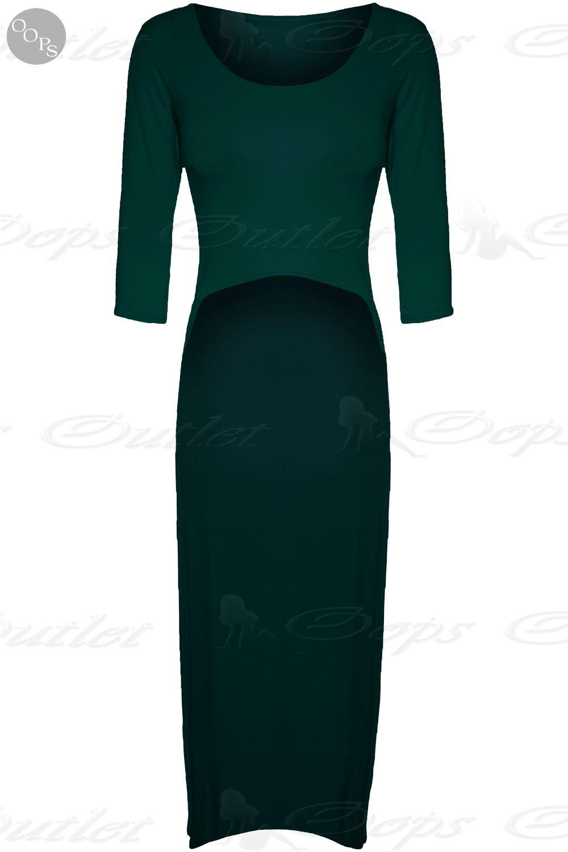 Womens Ladies Stretch High Low Back Dipped Hem Fishtail Long Midi Dress Crop Top