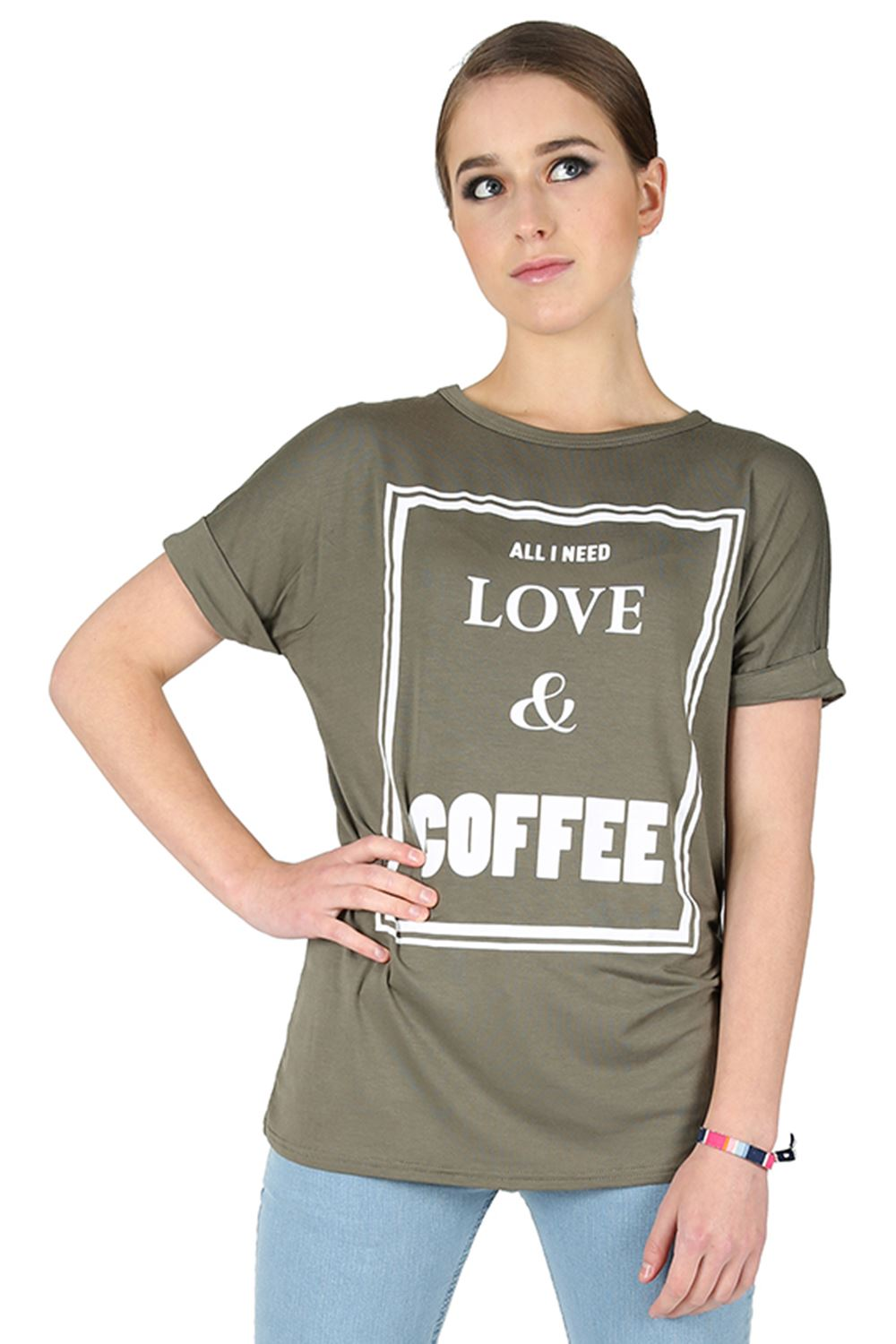 Womens ladies all i need love coffee print stretch for I need t shirts printed