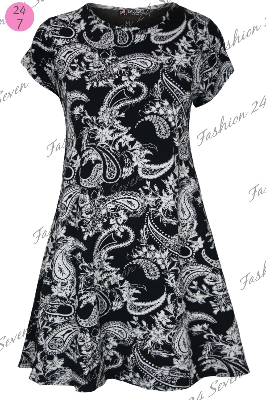 Womens Ladies Printed Summer Short Sleeve Flared Tunic Swing Dress Plus Size