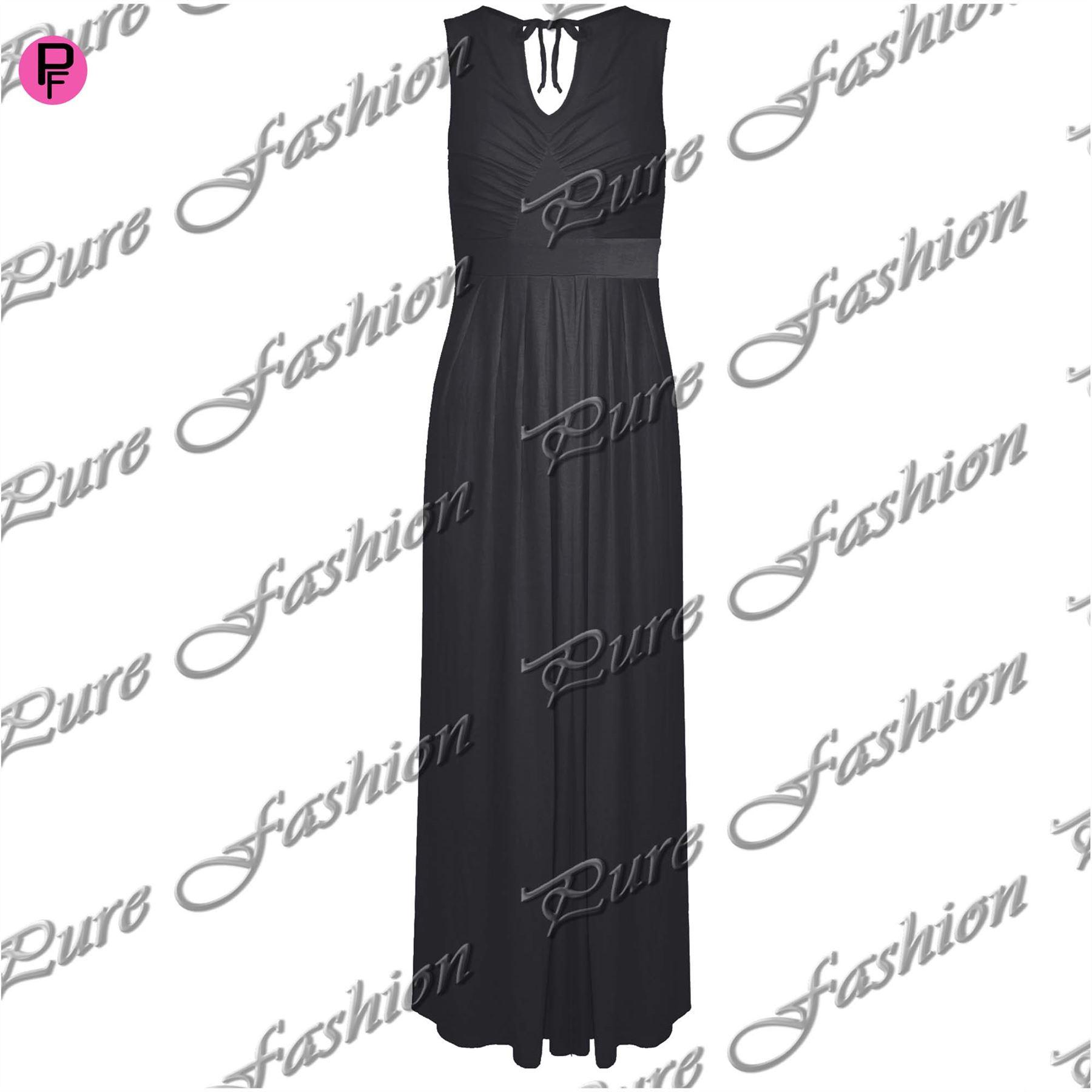 Womens-Ladies-Pleated-Sleeveless-Full-Length-Tie-Back-V-Neck-Flared-Maxi-Dress