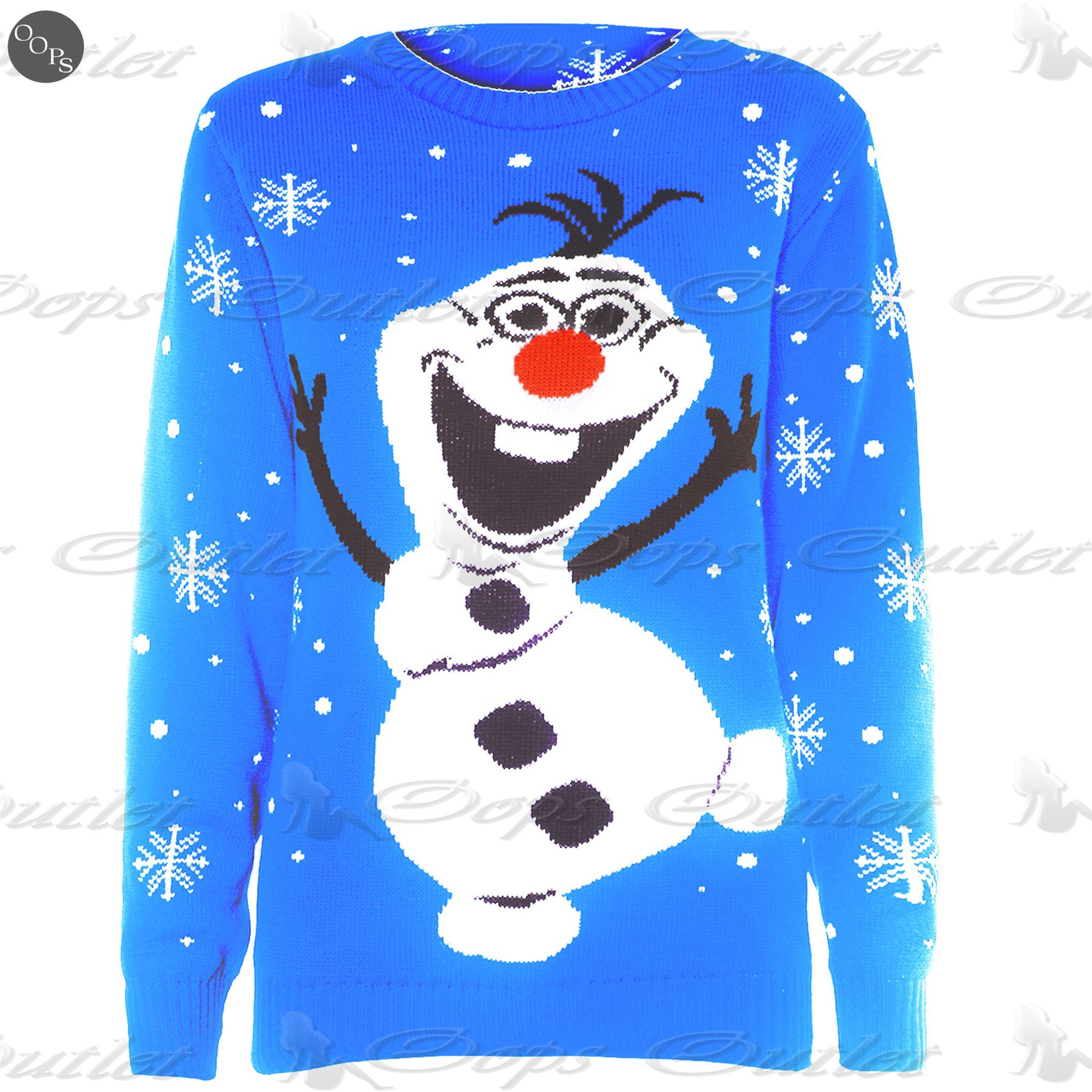Mens Womens Unisex Knitted Pom Pom Santa Snowman Olaf Christmas Sweater Jumpe...