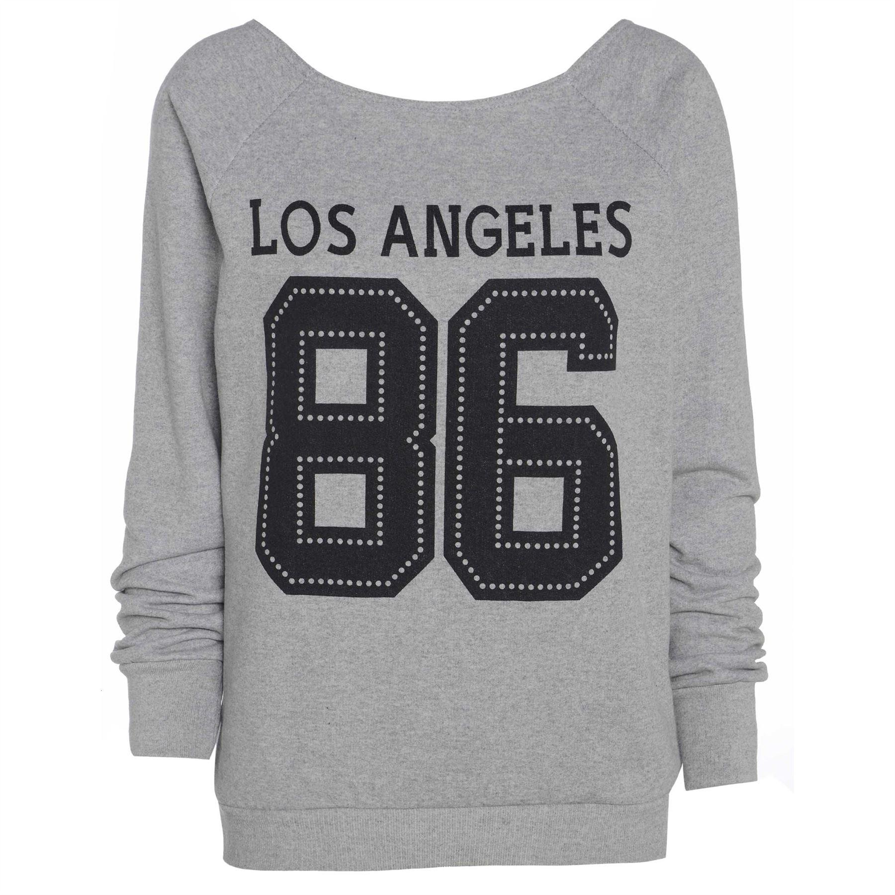 Womens Ladies 23 DOPE Bonjour Oversize Long Sleeve Los Angeles 86 Sweatshirt Top