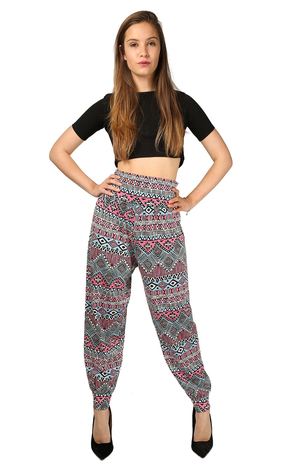 Excellent Women Ladies Printed Casual Sports Soft Harem Pants Loose Ninth Pants Plus Fo