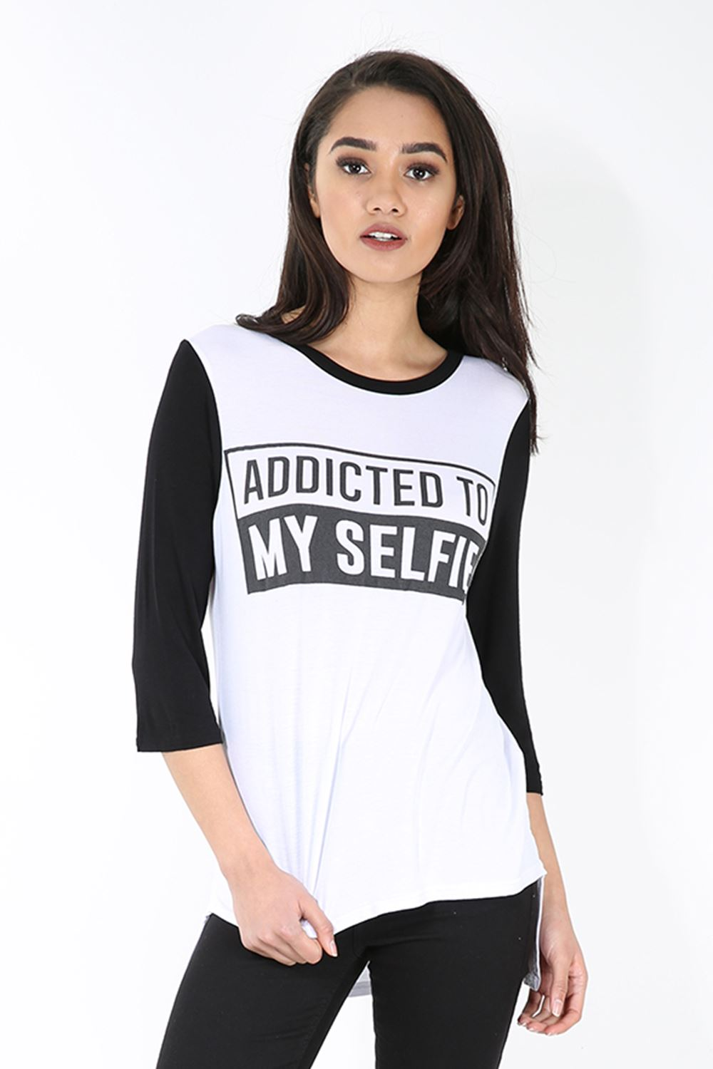 Womens t shirt ladies addicted print 3 4 contrast sleeve for Low neck t shirts women s