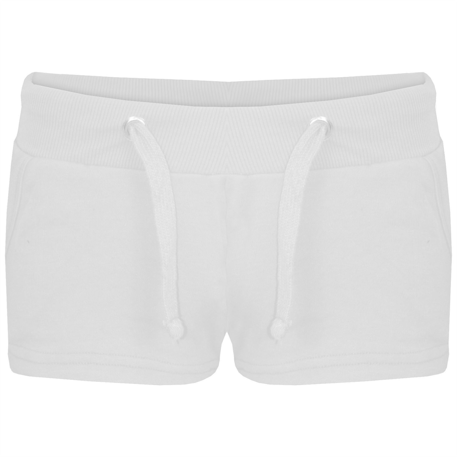 Womens-Ladies-Plain-Jersey-Elasticated-Side-Pockets-Hot-Pants-Jogging-Shorts