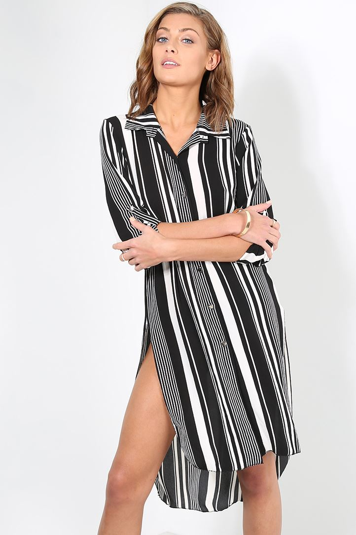Womens ladies stripe side split button down turn up long for Womens patterned button down shirts