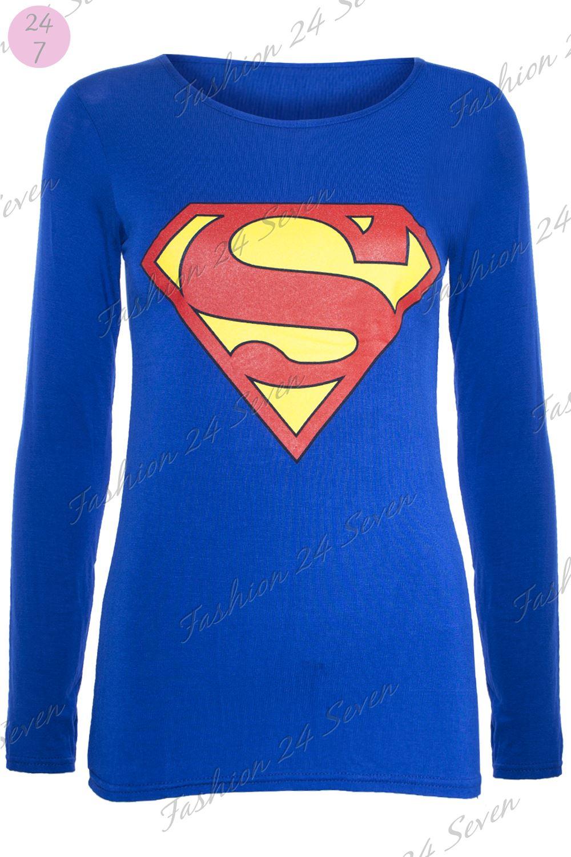 womens ladies cap long sleeves superman batman t shirt sweatshirt hoodies tops ebay. Black Bedroom Furniture Sets. Home Design Ideas