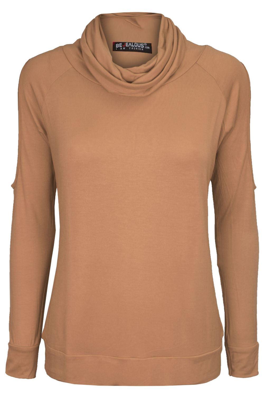 Womens Cowl Neck T Shirt Ladies Cold Shoulder Cut Out Top