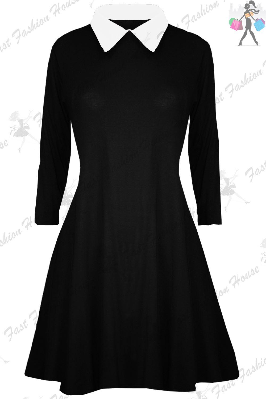 Womens Swing Dress Ladies Peter Pan Collar Long Sleeve Mini Skater Flared Dress
