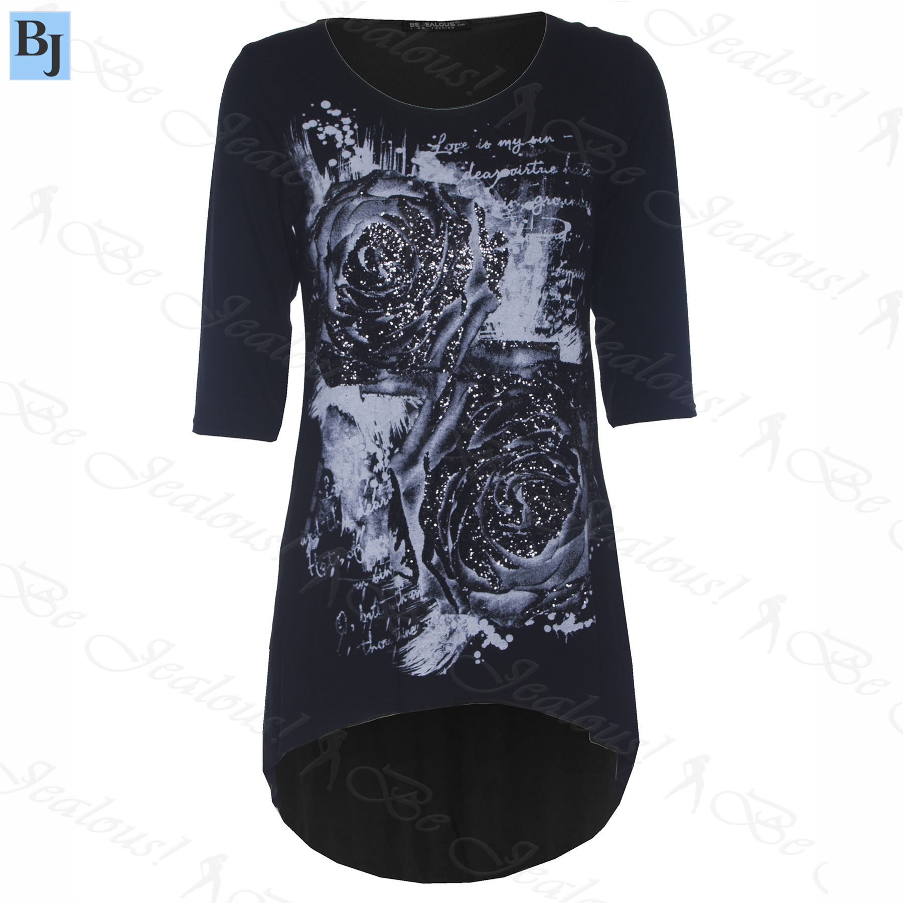 Womens plus size high low top ladies 3 4 sleeve rose for Plus size 3 4 sleeve tee shirts