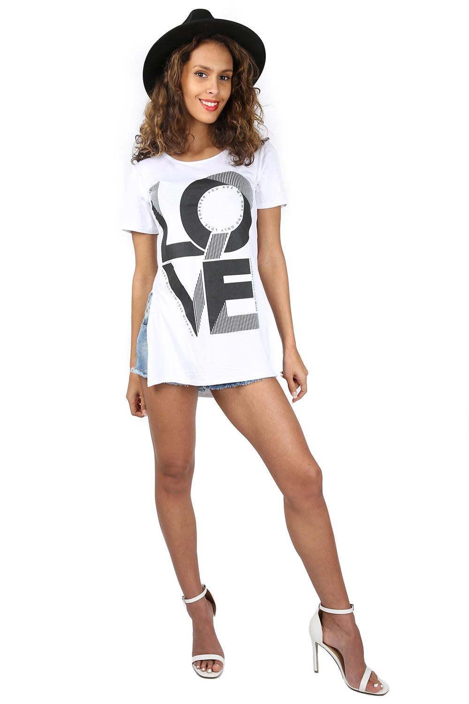 Ladies womens printed side split slit logo slogan dress for Logo t shirt dress