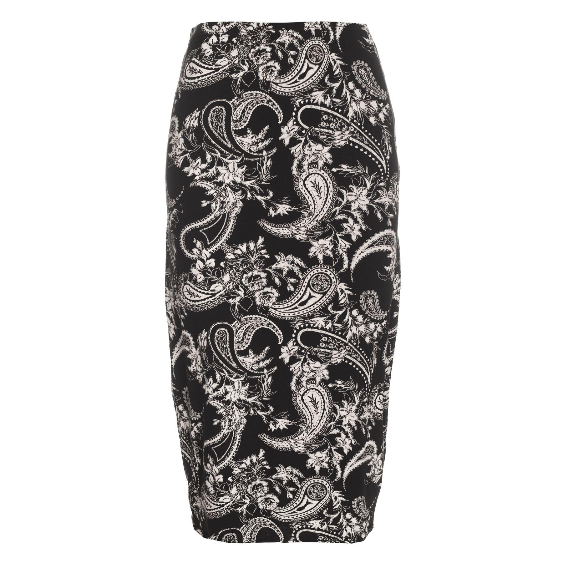 Womens Printed Stretchy High Waist Ladies Wiggle Tube Bodycon Pencil Midi Skirt