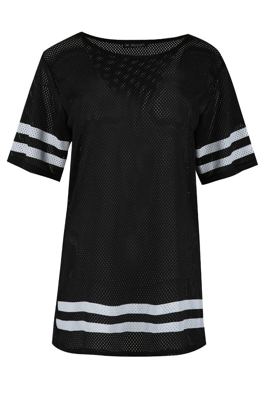 Womens ladies oversized sports stripe airtex short sleeve for Plain white tee shirt womens