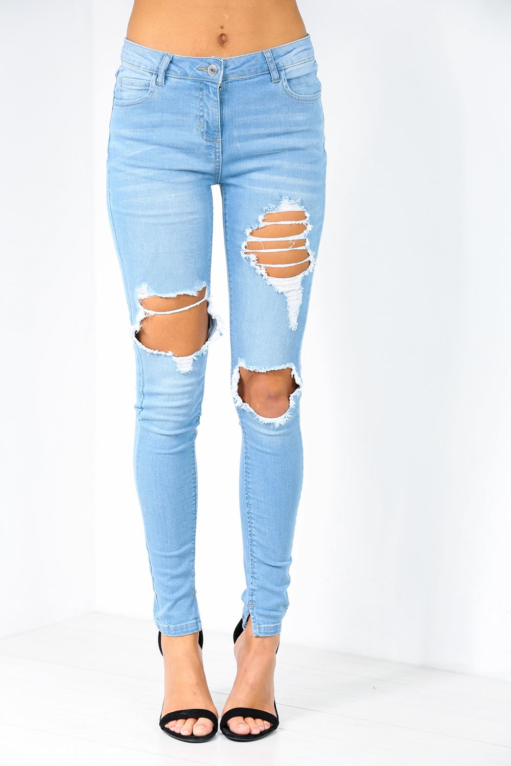 Womens Ripped Jeans Knee Cut Out Frayed Skinny Fit Stretchy Ladies ...