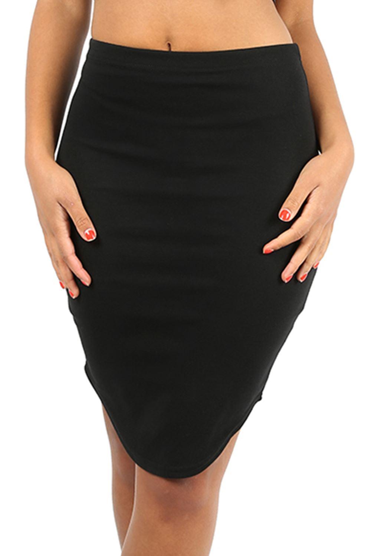 womens knee length curved hem pencil bodycon plus