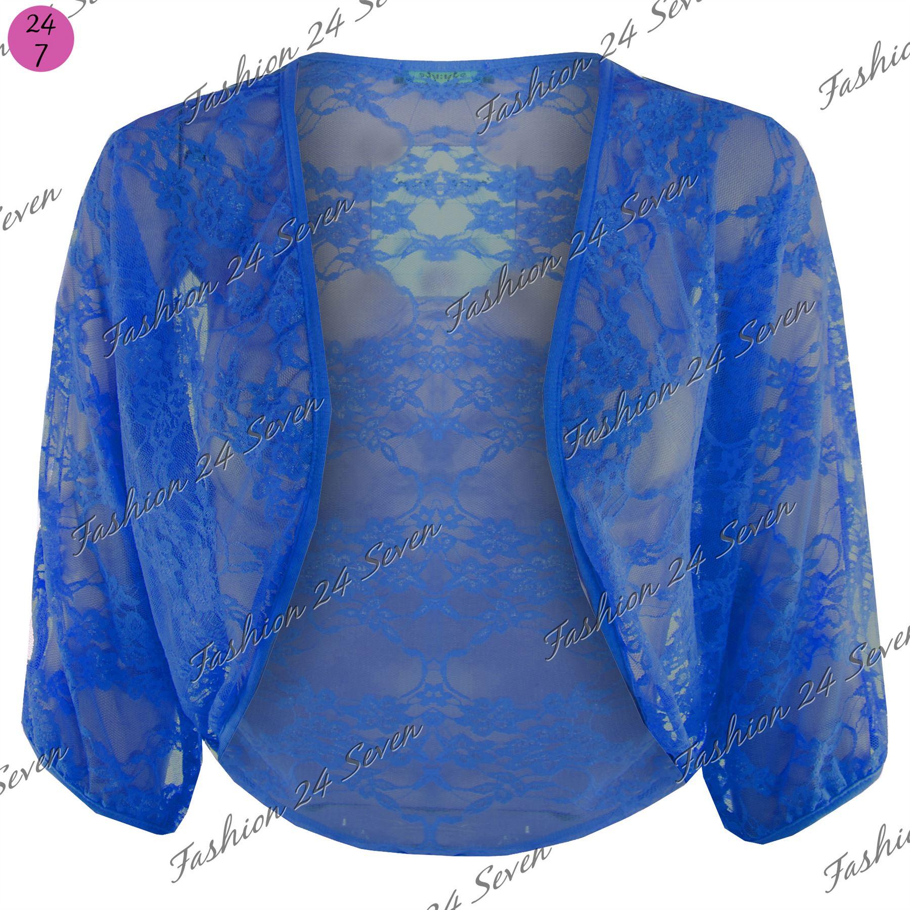Womens-Batwing-Open-Cardigan-Ladies-Celeb-Lace-Crop-Bolero-Shrug-Top-Plus-Size