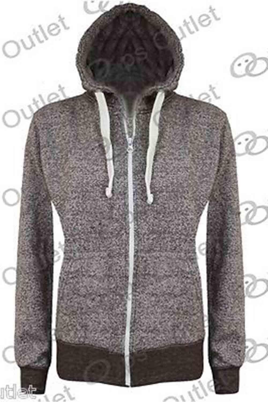 Ladies Plain Hoody Girls Zip Top Womens Hoodies Sweatshirt Jacket Plus Size 6-22