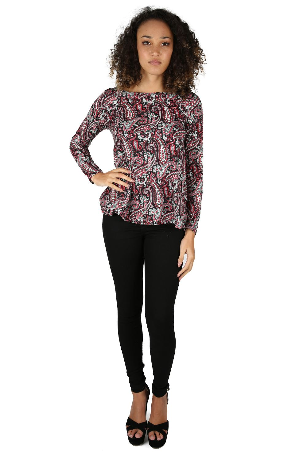 Women ladies floral printed long sleeve stretchy flared for Long sleeve printed t shirts