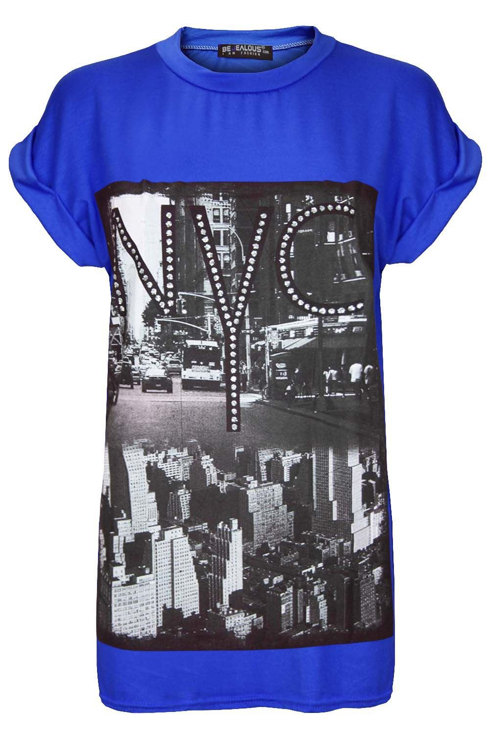Womens Nyc New York City Print Top Ladies Cap Sleeve Baggy