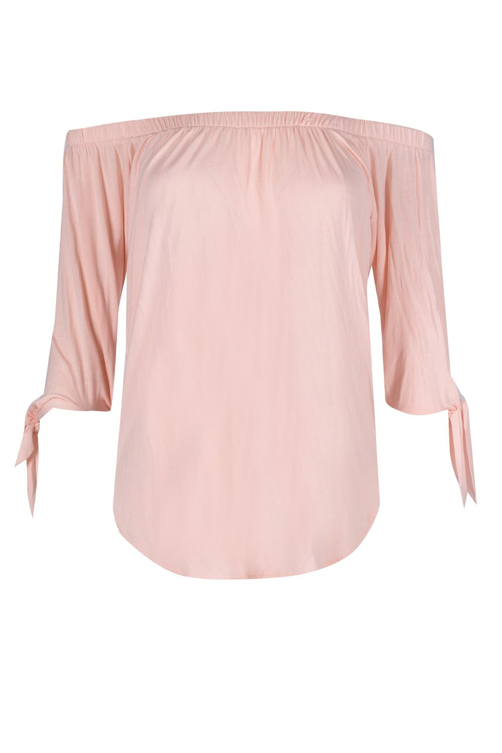 Womens Ruched Curved Hem Tie Sleeve Ladies Off The Shoulder Top T Shirt UK 8-14