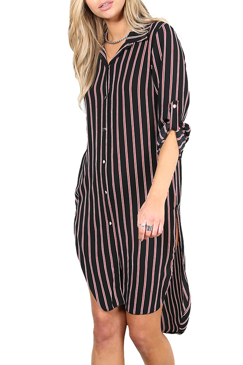Womens shirt dress ladies stripe side split button down Women s long sleeve shirt dress
