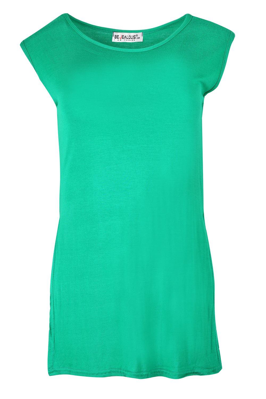 womens ladies short sleeves basic side cut out dep hem. Black Bedroom Furniture Sets. Home Design Ideas