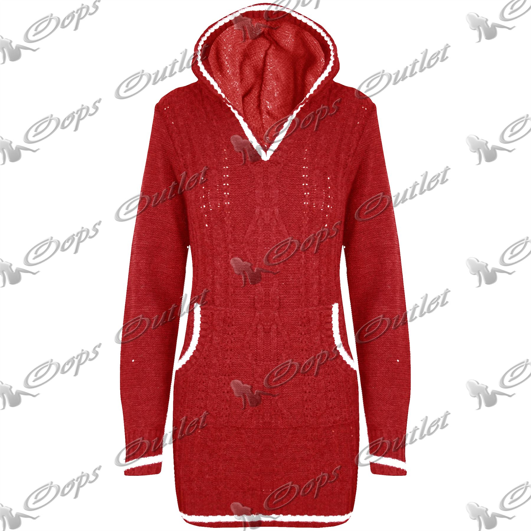 Knitting Pattern Womens Hoodie : Womens Ladies Striped Mini Dress Hoodie Hoody Chunky Cable ...