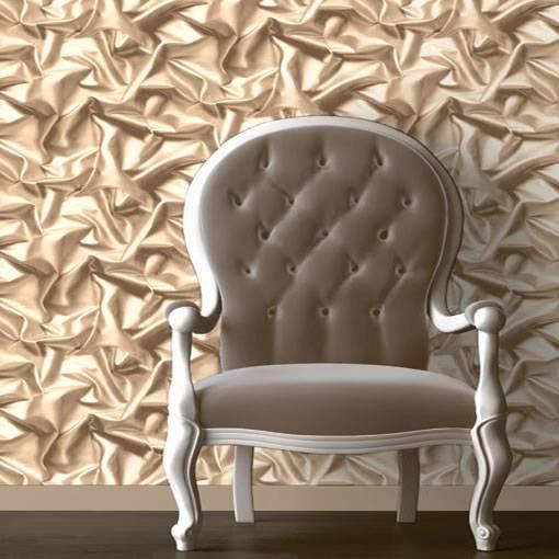 Papier peint muriva caf cr me f72907 effet soie pliss e 3d velours froiss ebay for Papier peint tunisie