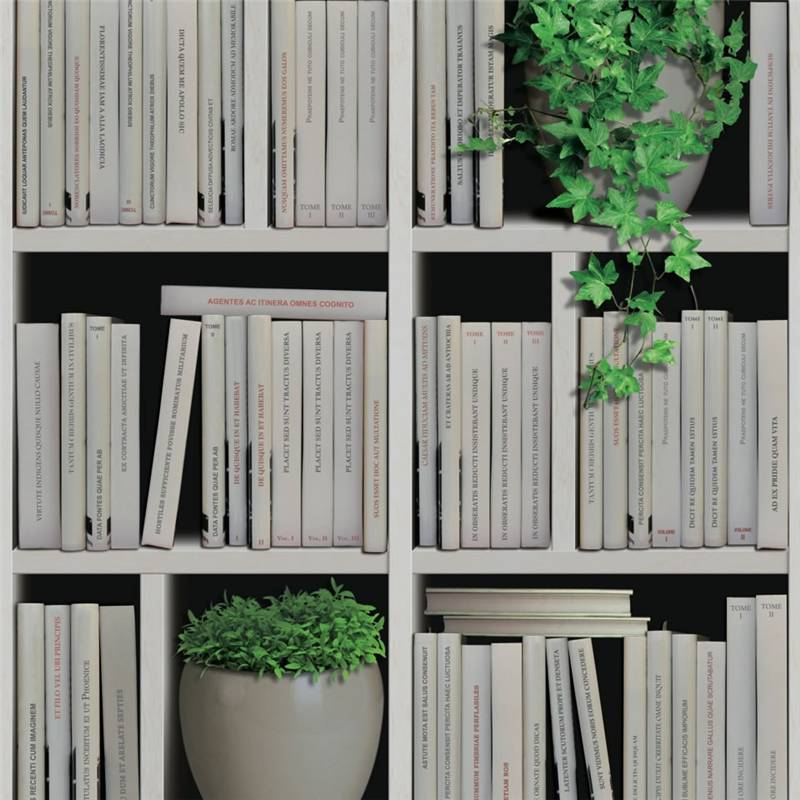 Carta da parati libri e piante foto libreria muriva for Carta da parati libri