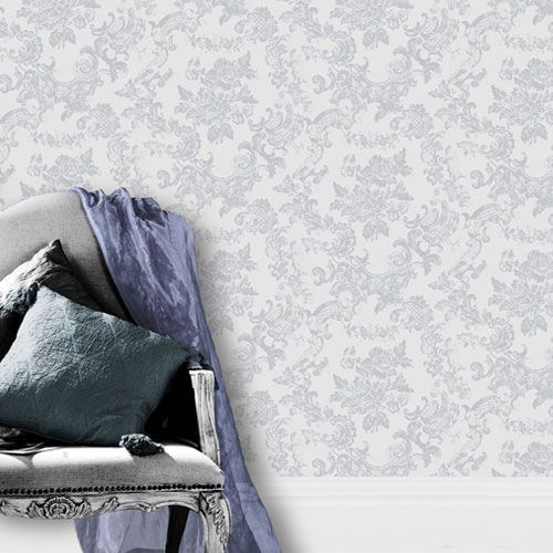 dove grey lilac m0755 vintage lace damask toile de jouy style crown wallpaper ebay. Black Bedroom Furniture Sets. Home Design Ideas
