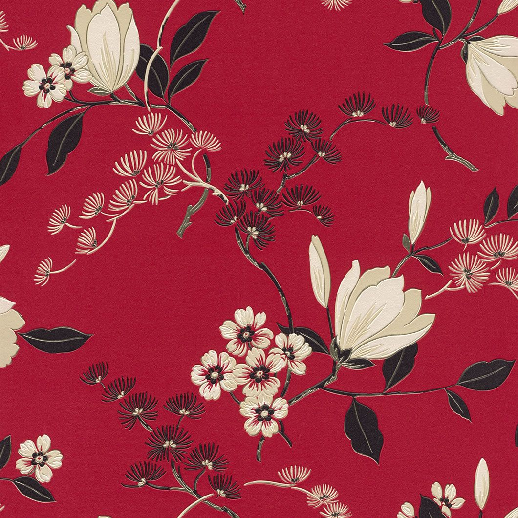 Red black cream 822519 oriental floral rasch for Oriental style wallpaper uk