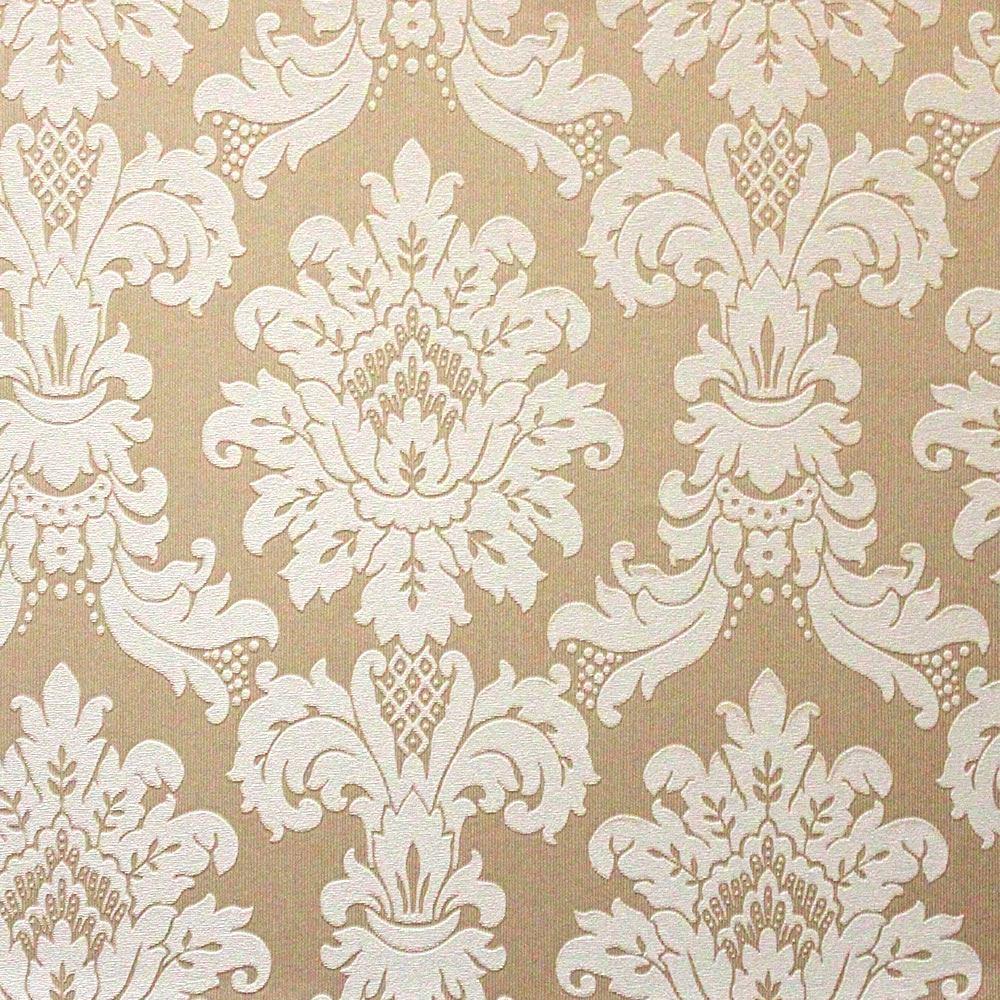 Crema papel pintado del damasco cuadros for Marcas de papel pintado