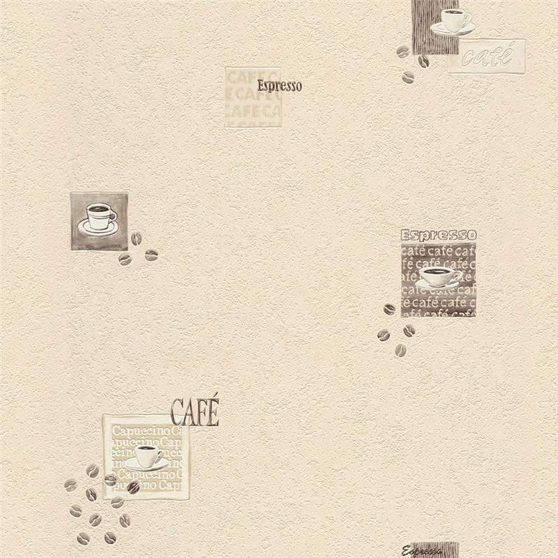 vinyl tapete rasch kaffee cremefarben 815719 cafe. Black Bedroom Furniture Sets. Home Design Ideas