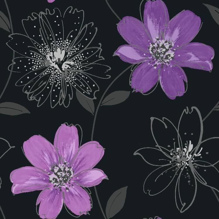 Arthouse wand tapete schwarz lila silber blumen 406005 for Tapete lila silber