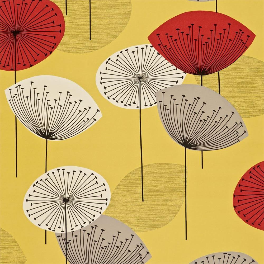 jaune rouge 210239 pissenlit horloge ann es 50 collection sanderson papier peint ebay. Black Bedroom Furniture Sets. Home Design Ideas