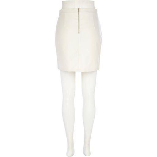 RI Cream Leather-Look Mini Skirt WITH DEFECT