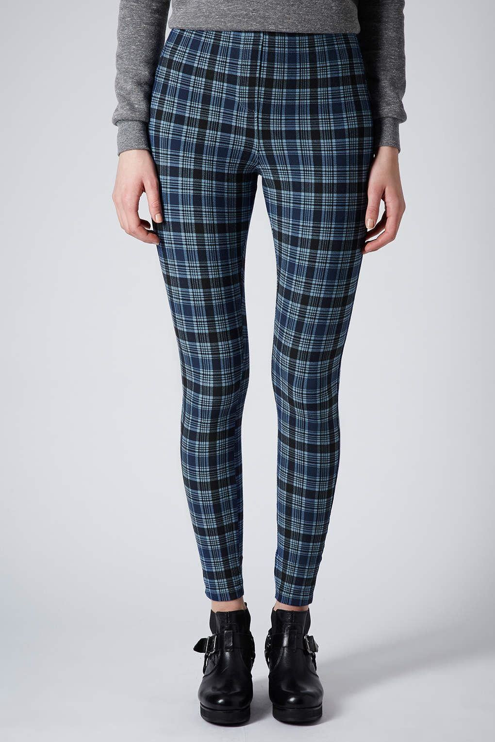 Topshop women 39 s casual tall check denim leggings ebay for Womens denim shirts topshop