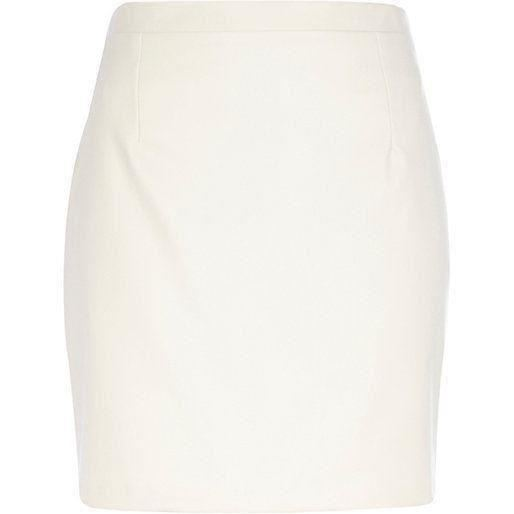 Ex River Island Party Cream Leather Mini Skirt WITH DEFECT
